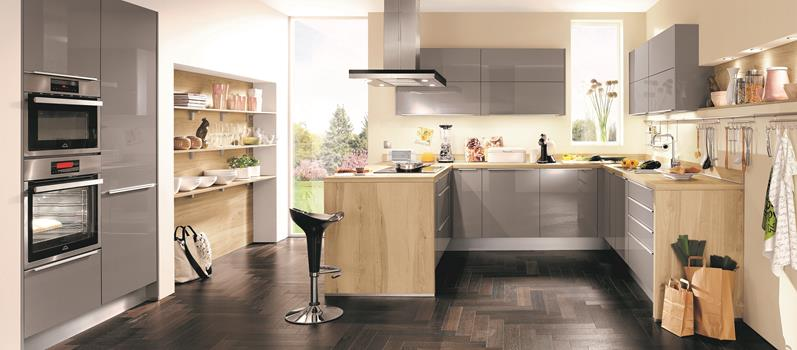 Ergonomische Küche, Mineralgrau Ultra-Hochglanz Lack